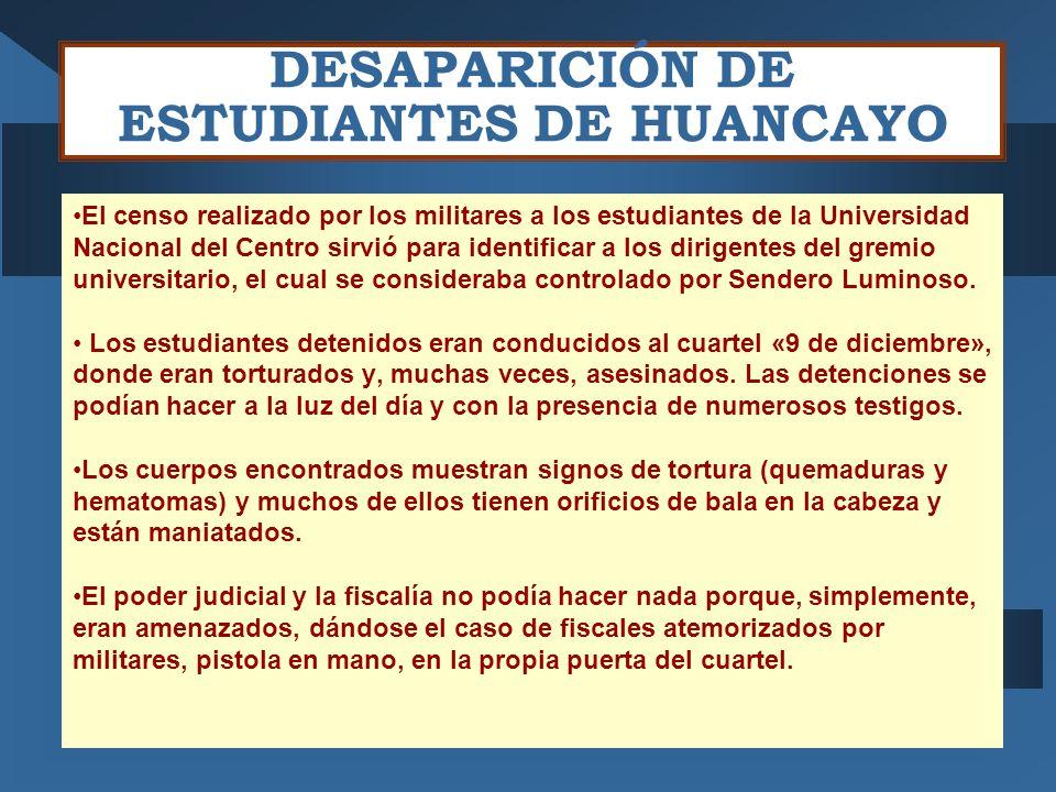 DESAPARICIÓN DE ESTUDIANTES DE HUANCAYO El censo realizado por los militares a los estudiantes de la Universidad Nacional del Centro sirvió para identificar a los dirigentes del gremio universitario, el cual se consideraba controlado por Sendero Luminoso.