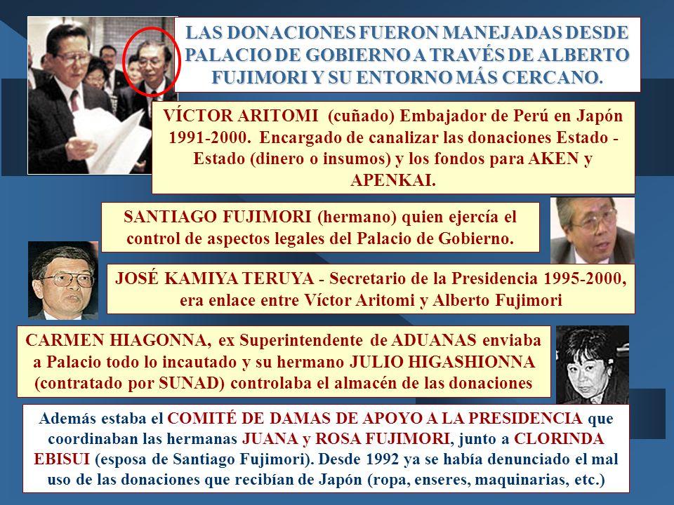 LAS DONACIONES FUERON MANEJADAS DESDE PALACIO DE GOBIERNO A TRAVÉS DE ALBERTO FUJIMORI Y SU ENTORNO MÁS CERCANO LAS DONACIONES FUERON MANEJADAS DESDE PALACIO DE GOBIERNO A TRAVÉS DE ALBERTO FUJIMORI Y SU ENTORNO MÁS CERCANO.