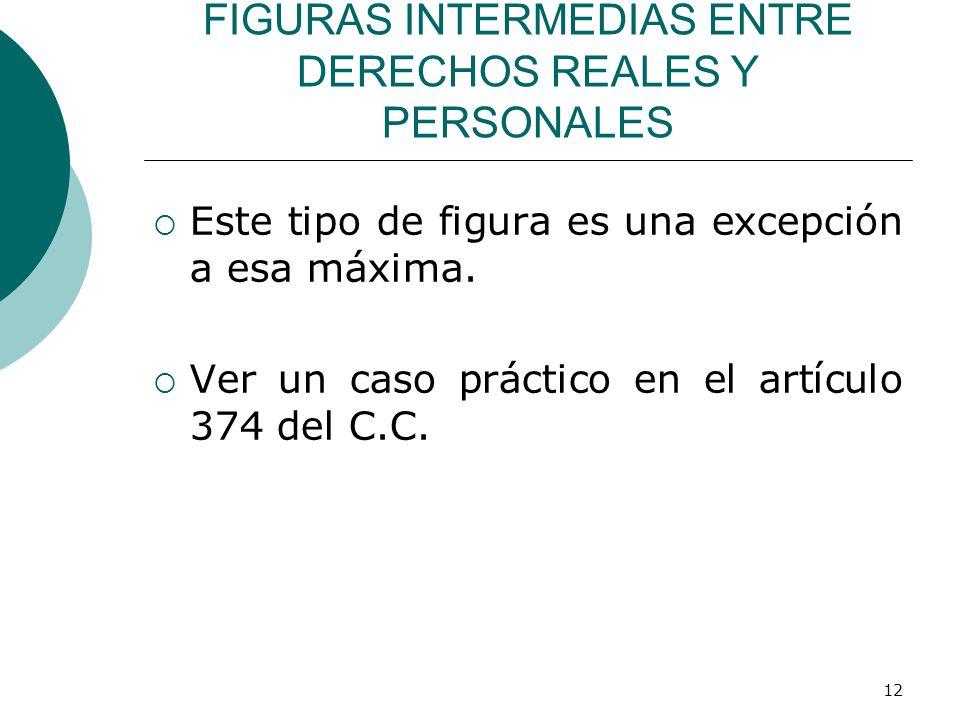 12 FIGURAS INTERMEDIAS ENTRE DERECHOS REALES Y PERSONALES  Este tipo de figura es una excepción a esa máxima.
