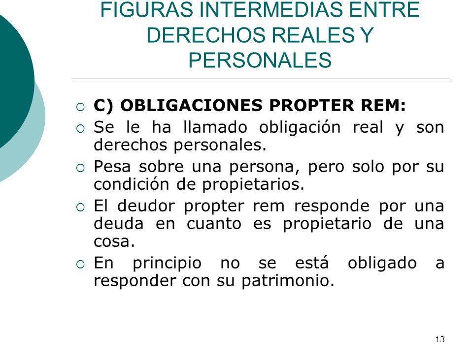 13 FIGURAS INTERMEDIAS ENTRE DERECHOS REALES Y PERSONALES  C) OBLIGACIONES PROPTER REM:  Se le ha llamado obligación real y son derechos personales.