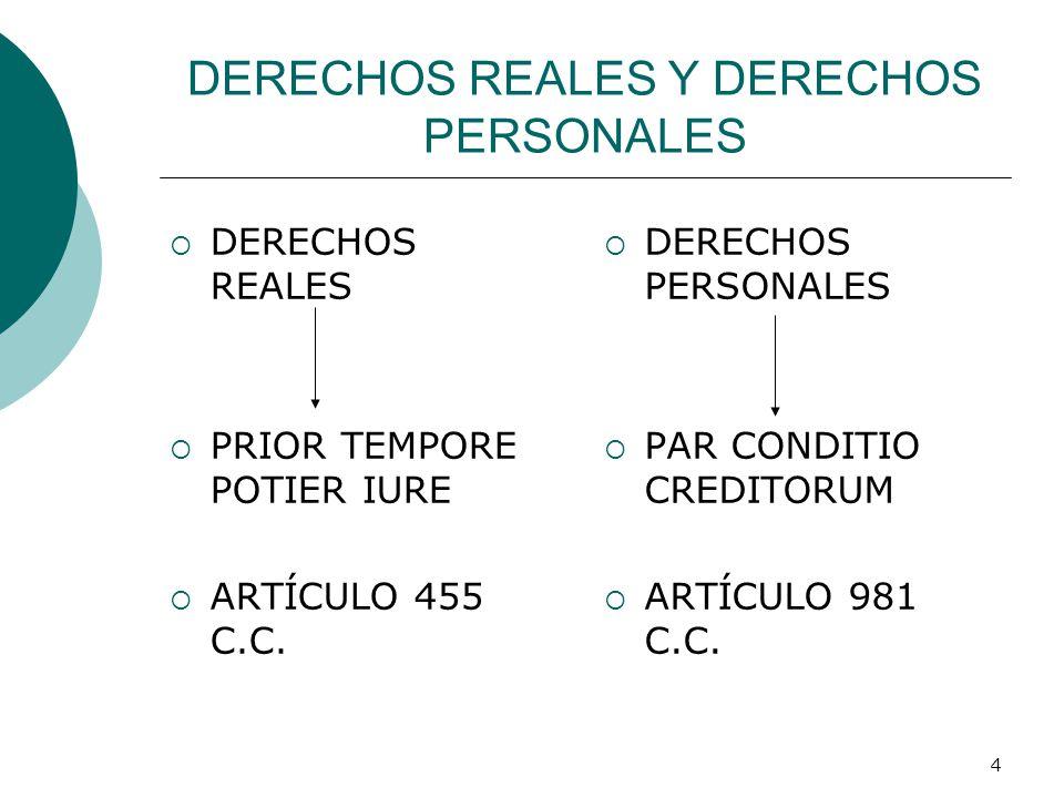 4 DERECHOS REALES Y DERECHOS PERSONALES  DERECHOS REALES  PRIOR TEMPORE POTIER IURE  ARTÍCULO 455 C.C.