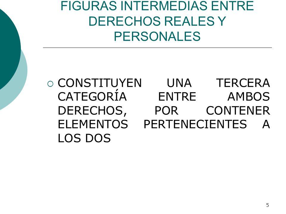 5 FIGURAS INTERMEDIAS ENTRE DERECHOS REALES Y PERSONALES  CONSTITUYEN UNA TERCERA CATEGORÍA ENTRE AMBOS DERECHOS, POR CONTENER ELEMENTOS PERTENECIENTES A LOS DOS