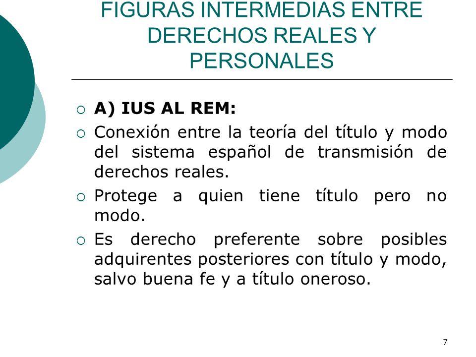 7 FIGURAS INTERMEDIAS ENTRE DERECHOS REALES Y PERSONALES  A) IUS AL REM:  Conexión entre la teoría del título y modo del sistema español de transmisión de derechos reales.