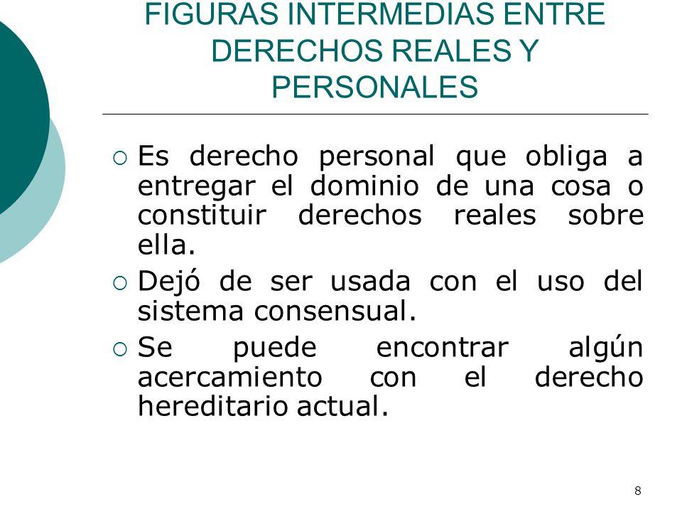 8 FIGURAS INTERMEDIAS ENTRE DERECHOS REALES Y PERSONALES  Es derecho personal que obliga a entregar el dominio de una cosa o constituir derechos reales sobre ella.