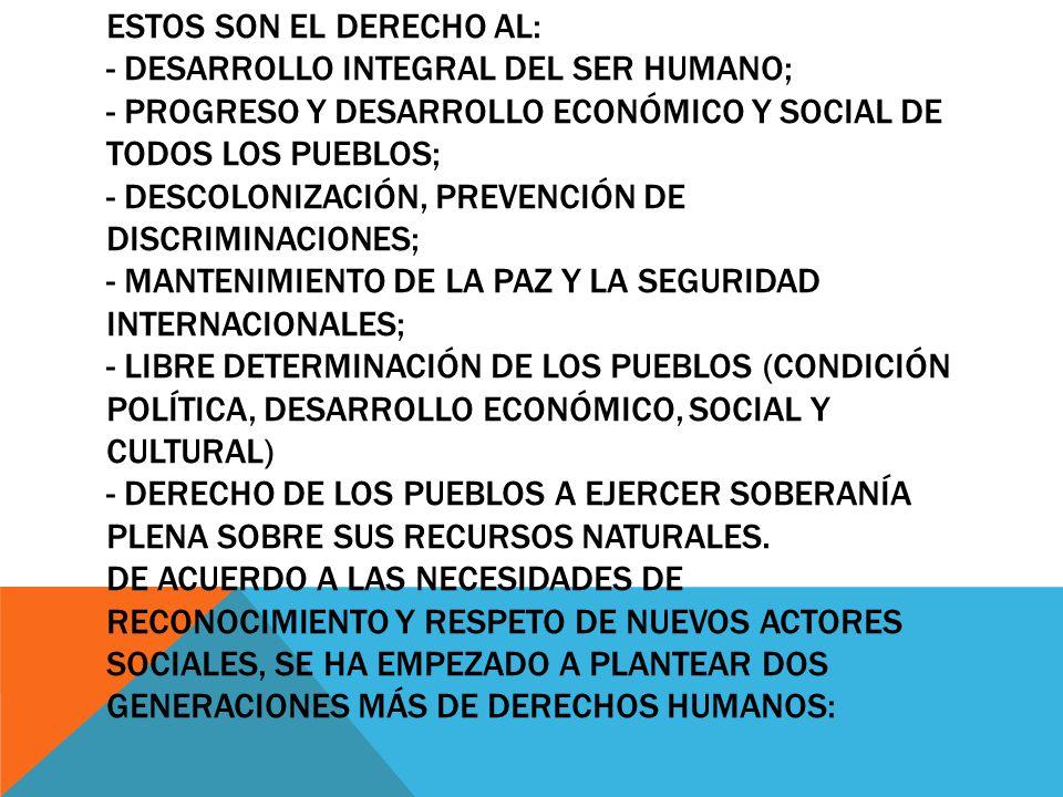ESTOS SON EL DERECHO AL: - DESARROLLO INTEGRAL DEL SER HUMANO; - PROGRESO Y DESARROLLO ECONÓMICO Y SOCIAL DE TODOS LOS PUEBLOS; - DESCOLONIZACIÓN, PRE