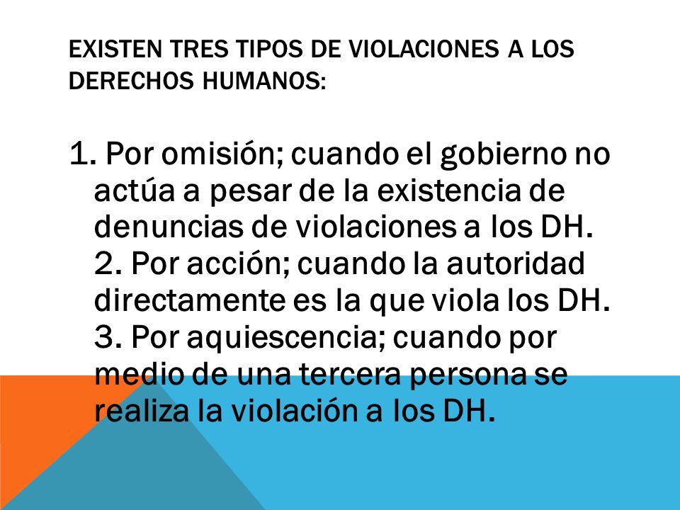 EXISTEN TRES TIPOS DE VIOLACIONES A LOS DERECHOS HUMANOS: 1. Por omisión; cuando el gobierno no actúa a pesar de la existencia de denuncias de violaci