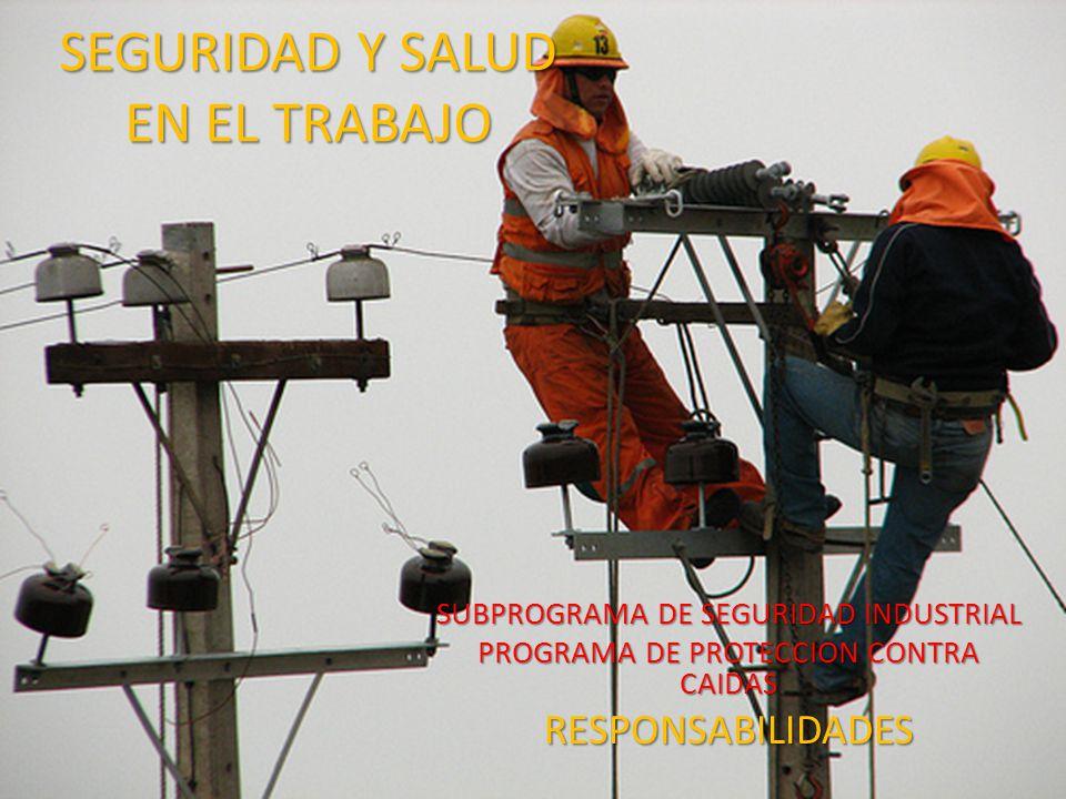 SEGURIDAD Y SALUD EN EL TRABAJO SUBPROGRAMA DE SEGURIDAD INDUSTRIAL PROGRAMA DE PROTECCION CONTRA CAIDAS RESPONSABILIDADES