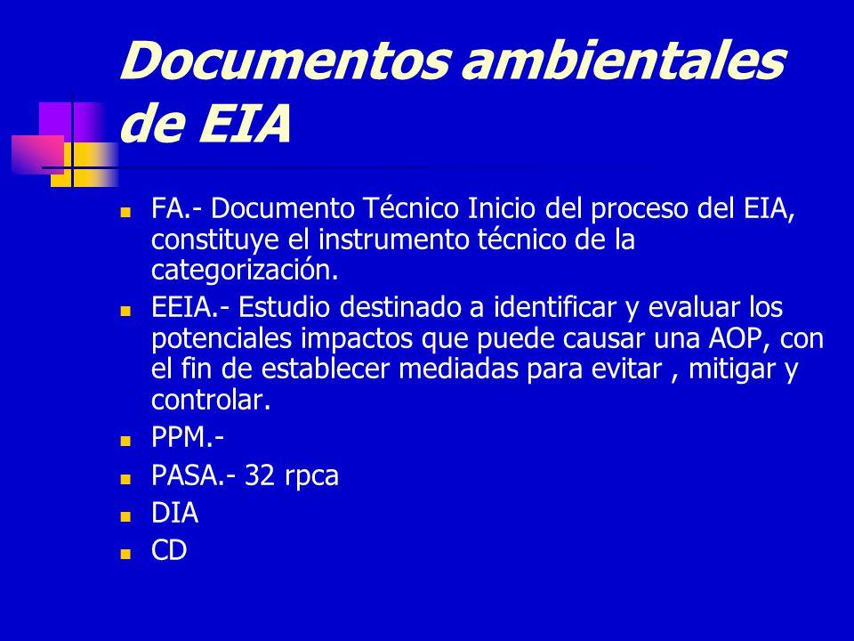 Documentos ambientales de EIA FA.- Documento Técnico Inicio del proceso del EIA, constituye el instrumento técnico de la categorización.