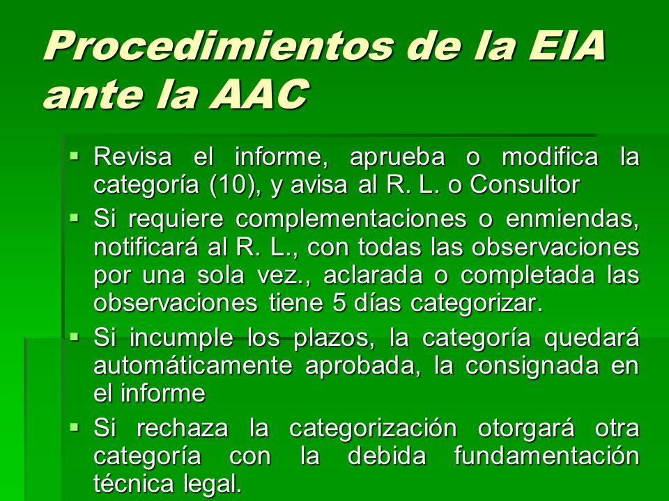 Procedimientos de la EIA ante la AAC RRRRevisa el informe, aprueba o modifica la categoría (10), y avisa al R.