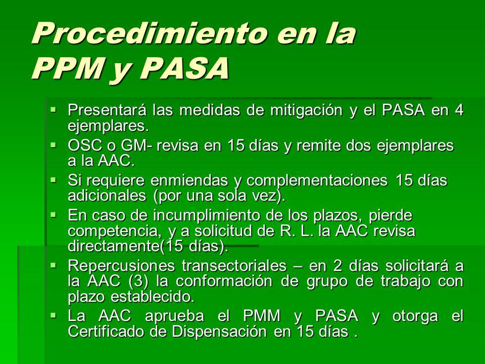 Procedimiento en la PPM y PASA  Presentará las medidas de mitigación y el PASA en 4 ejemplares.