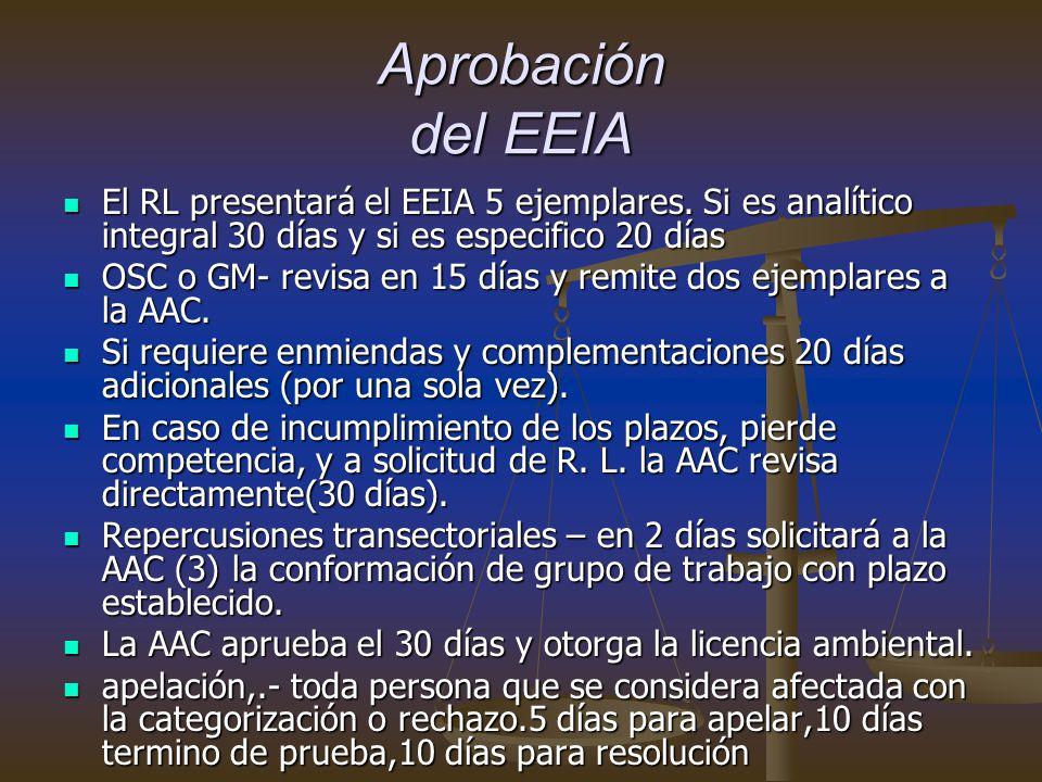 Aprobación del EEIA El RL presentará el EEIA 5 ejemplares.
