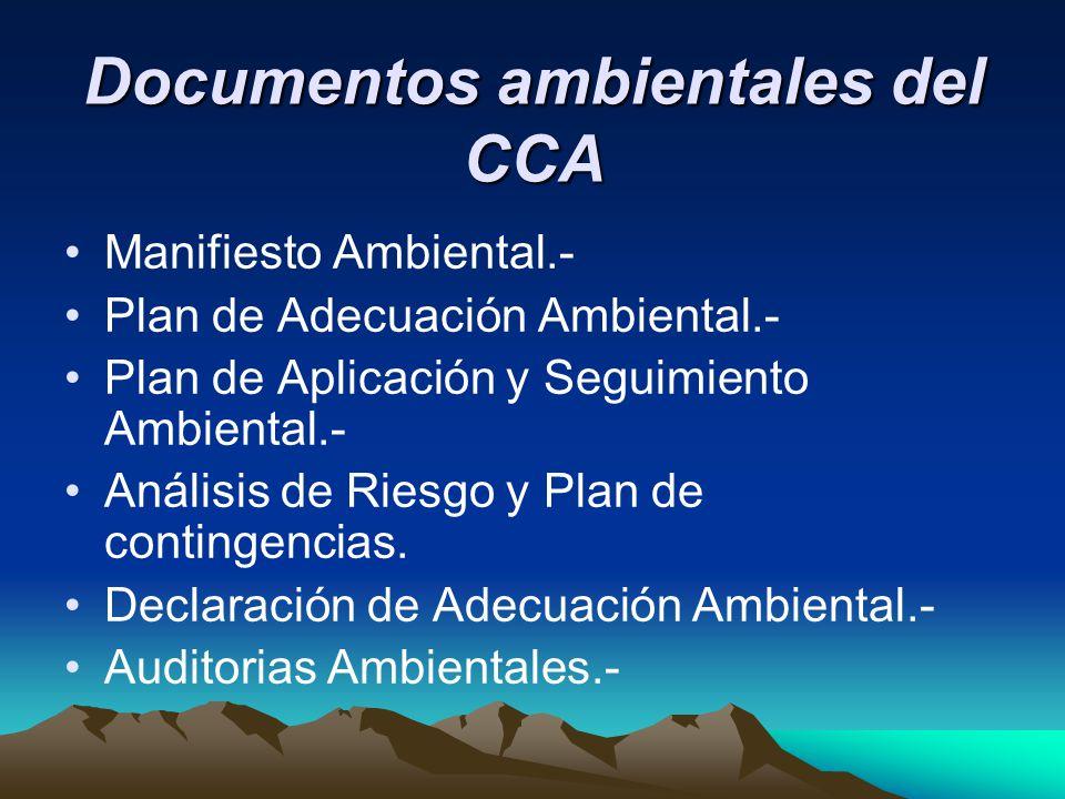 Documentos ambientales del CCA Manifiesto Ambiental.- Plan de Adecuación Ambiental.- Plan de Aplicación y Seguimiento Ambiental.- Análisis de Riesgo y Plan de contingencias.