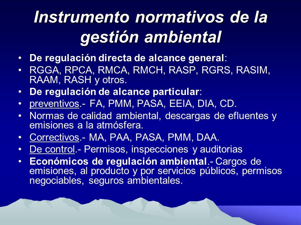 Instrumento normativos de la gestión ambiental De regulación directa de alcance general: RGGA, RPCA, RMCA, RMCH, RASP, RGRS, RASIM, RAAM, RASH y otros.