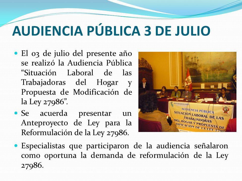 AUDIENCIA PÚBLICA 3 DE JULIO El 03 de julio del presente año se realizó la Audiencia Pública Situación Laboral de las Trabajadoras del Hogar y Propuesta de Modificación de la Ley 27986 .