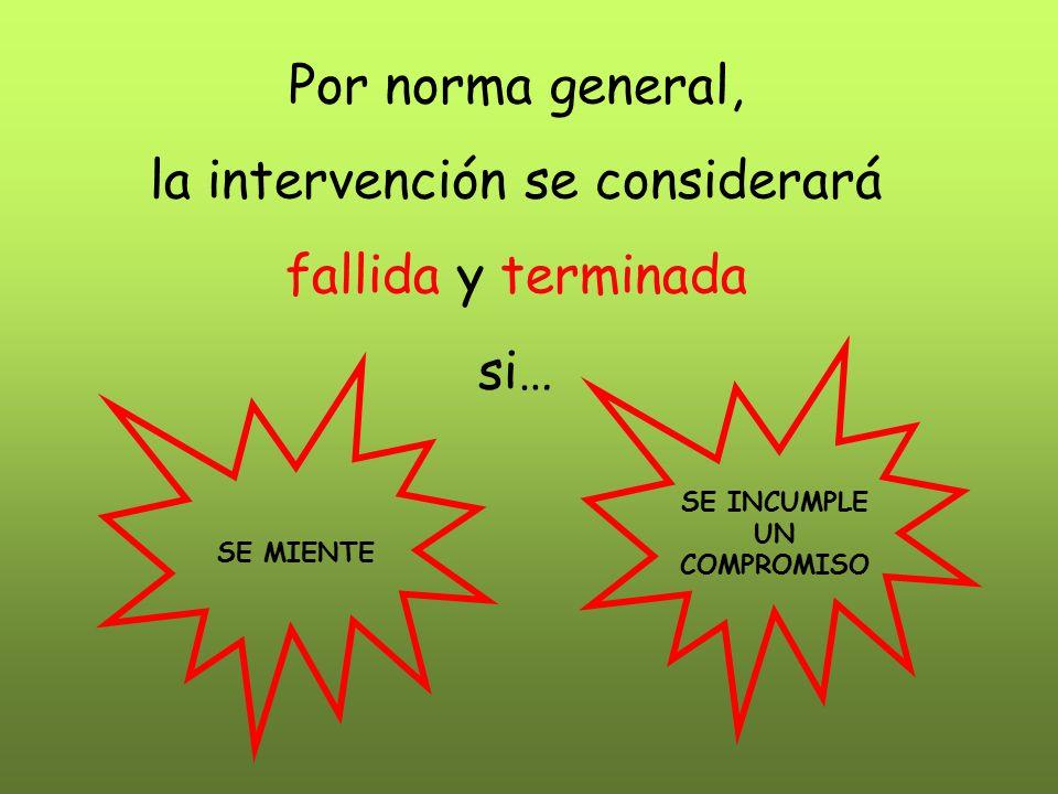 Por norma general, la intervención se considerará fallida y terminada si… SE INCUMPLE UN COMPROMISO SE MIENTE
