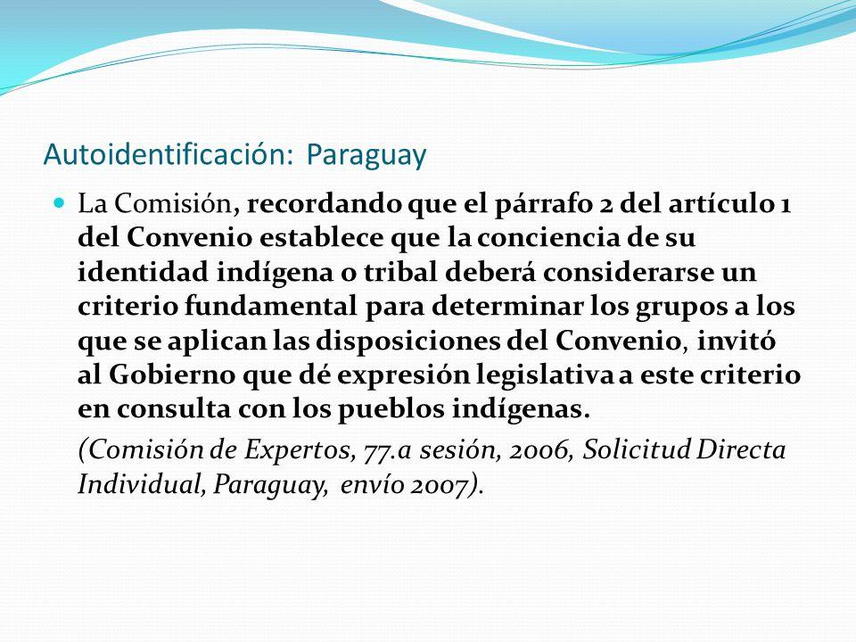 Autoidentificación: Paraguay La Comisión, recordando que el párrafo 2 del artículo 1 del Convenio establece que la conciencia de su identidad indígena o tribal deberá considerarse un criterio fundamental para determinar los grupos a los que se aplican las disposiciones del Convenio, invitó al Gobierno que dé expresión legislativa a este criterio en consulta con los pueblos indígenas.