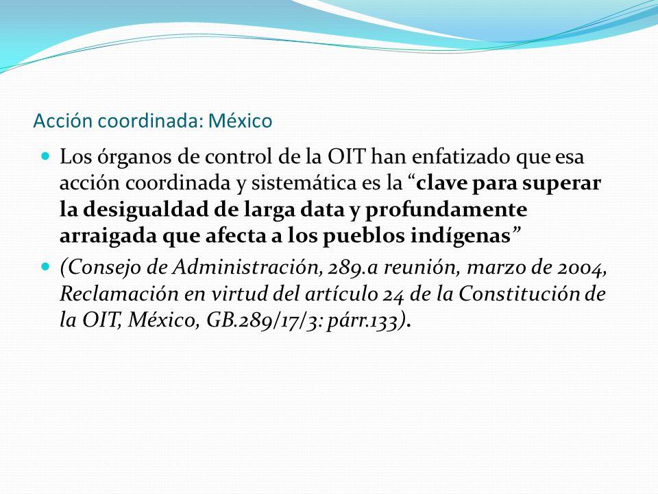 """Acción coordinada: México Los órganos de control de la OIT han enfatizado que esa acción coordinada y sistemática es la """"clave para superar la desigua"""