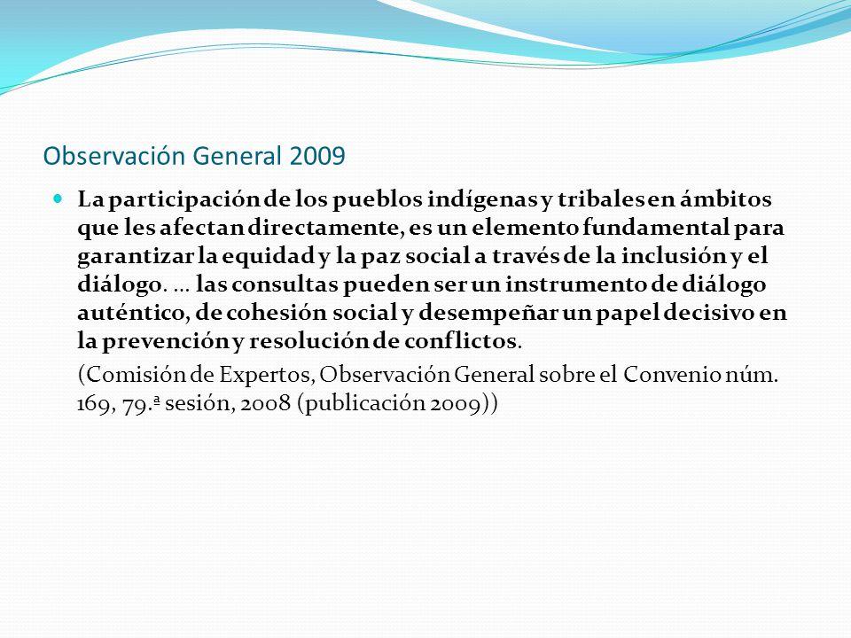 Observación General 2009 La participación de los pueblos indígenas y tribales en ámbitos que les afectan directamente, es un elemento fundamental para