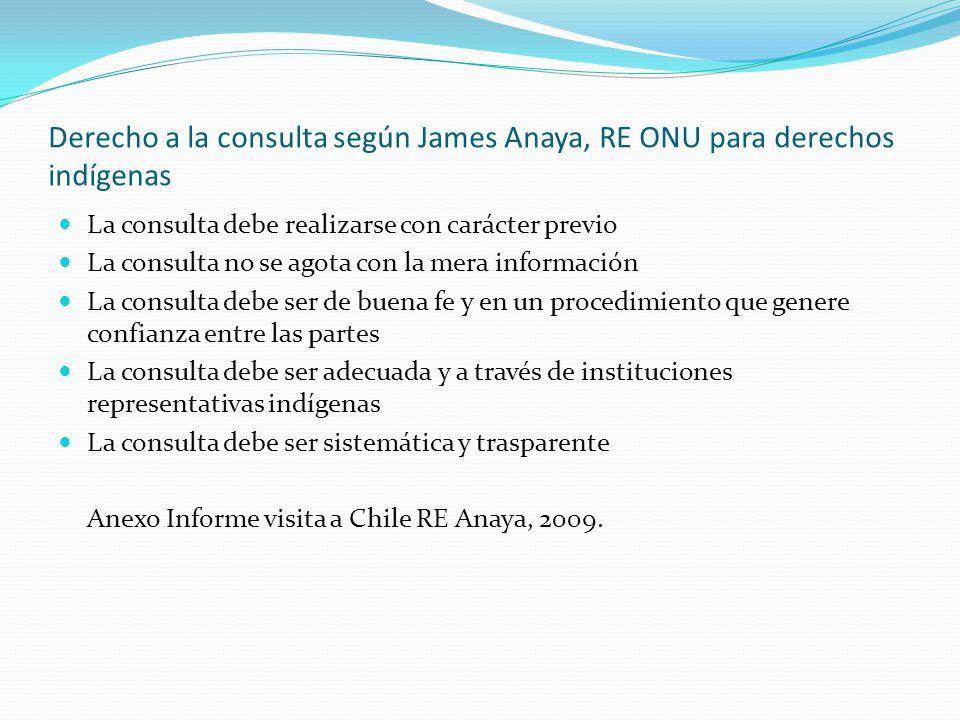 Derecho a la consulta según James Anaya, RE ONU para derechos indígenas La consulta debe realizarse con carácter previo La consulta no se agota con la