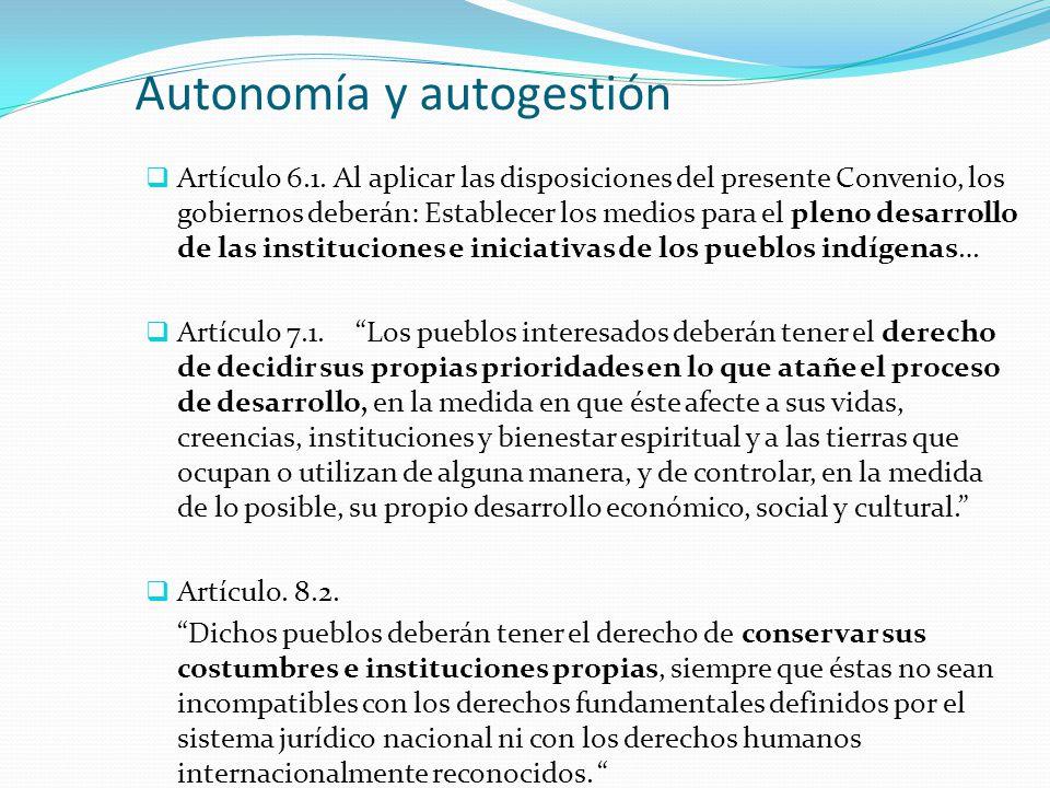 Autonomía y autogestión  Artículo 6.1. Al aplicar las disposiciones del presente Convenio, los gobiernos deberán: Establecer los medios para el pleno