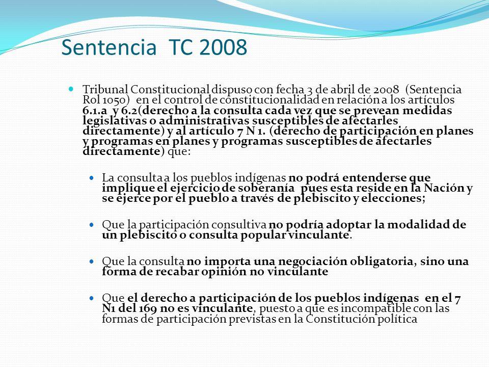 Sentencia TC 2008 Tribunal Constitucional dispuso con fecha 3 de abril de 2008 (Sentencia Rol 1050) en el control de constitucionalidad en relación a