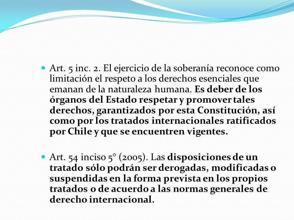 Art. 5 inc. 2. El ejercicio de la soberanía reconoce como limitación el respeto a los derechos esenciales que emanan de la naturaleza humana. Es deber