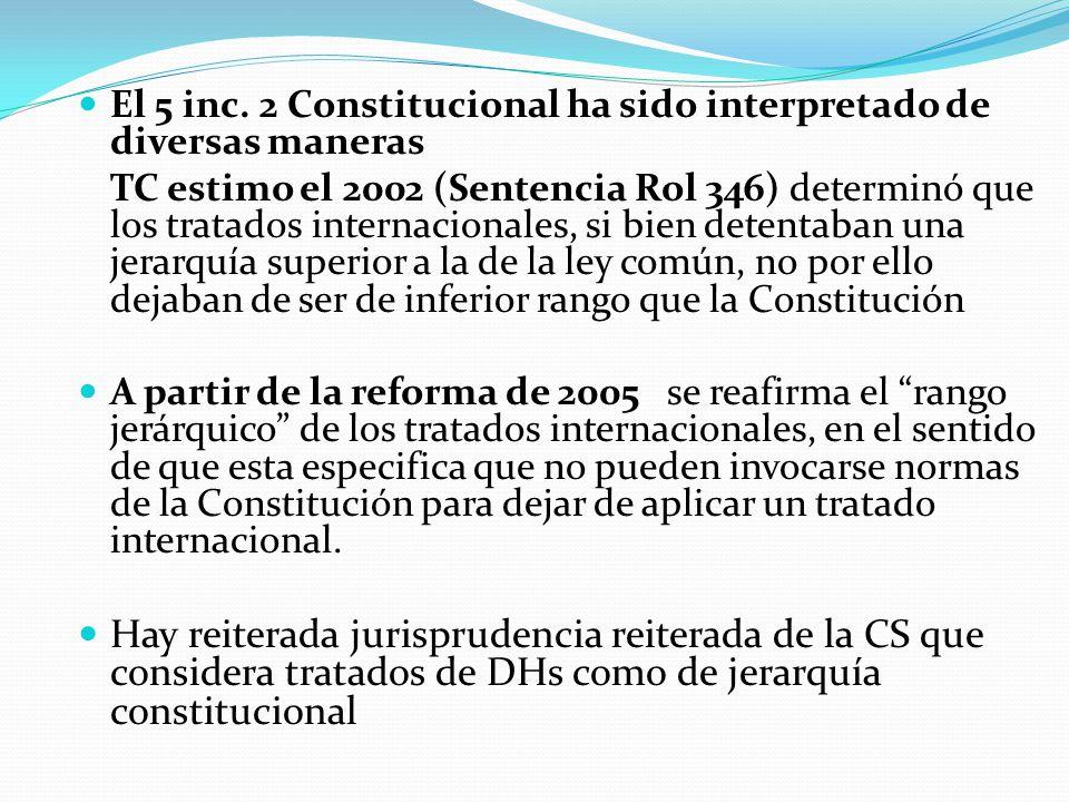 El 5 inc. 2 Constitucional ha sido interpretado de diversas maneras TC estimo el 2002 (Sentencia Rol 346) determinó que los tratados internacionales,