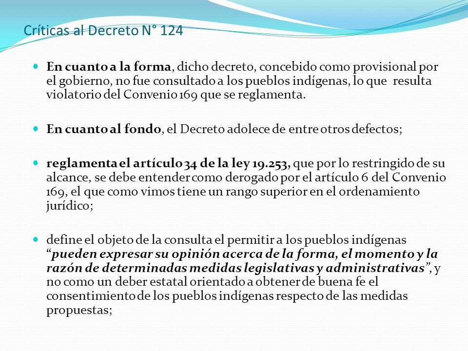 Críticas al Decreto N° 124 En cuanto a la forma, dicho decreto, concebido como provisional por el gobierno, no fue consultado a los pueblos indígenas, lo que resulta violatorio del Convenio 169 que se reglamenta.