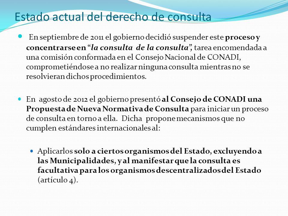 Estado actual del derecho de consulta En septiembre de 2011 el gobierno decidió suspender este proceso y concentrarse en la consulta de la consulta , tarea encomendada a una comisión conformada en el Consejo Nacional de CONADI, comprometiéndose a no realizar ninguna consulta mientras no se resolvieran dichos procedimientos.