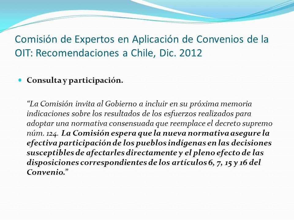 """Comisión de Expertos en Aplicación de Convenios de la OIT: Recomendaciones a Chile, Dic. 2012 Consulta y participación. """"La Comisión invita al Gobiern"""