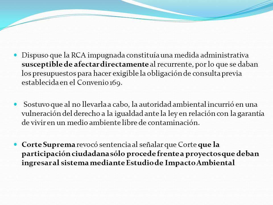 Dispuso que la RCA impugnada constituía una medida administrativa susceptible de afectar directamente al recurrente, por lo que se daban los presupues