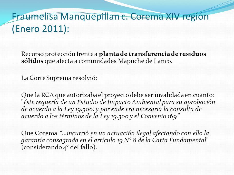 Fraumelisa Manquepillan c. Corema XIV región (Enero 2011): Recurso protección frente a planta de transferencia de residuos sólidos que afecta a comuni