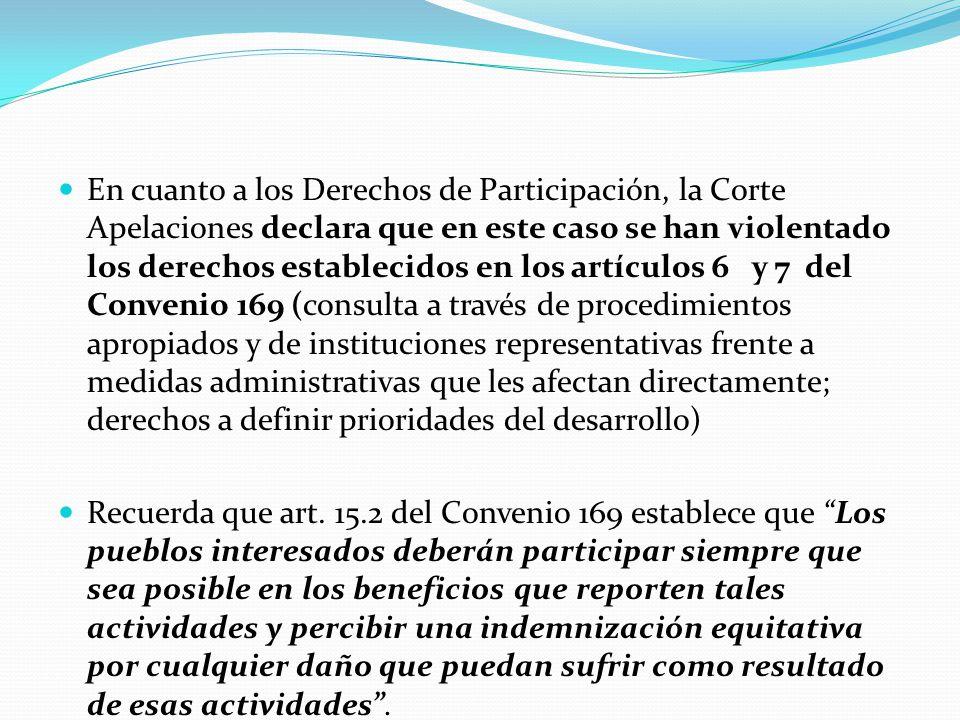 En cuanto a los Derechos de Participación, la Corte Apelaciones declara que en este caso se han violentado los derechos establecidos en los artículos