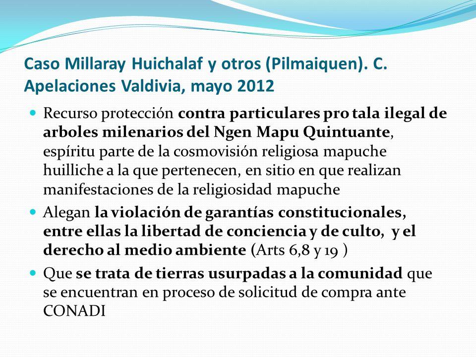 Caso Millaray Huichalaf y otros (Pilmaiquen). C. Apelaciones Valdivia, mayo 2012 Recurso protección contra particulares pro tala ilegal de arboles mil
