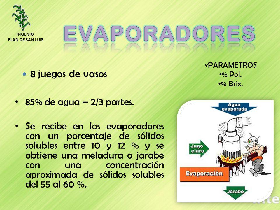 85% de agua – 2/3 partes. Se recibe en los evaporadores con un porcentaje de sólidos solubles entre 10 y 12 % y se obtiene una meladura o jarabe con u