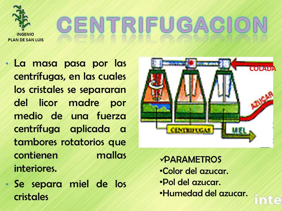 COLADA La masa pasa por las centrífugas, en las cuales los cristales se separaran del licor madre por medio de una fuerza centrífuga aplicada a tambor
