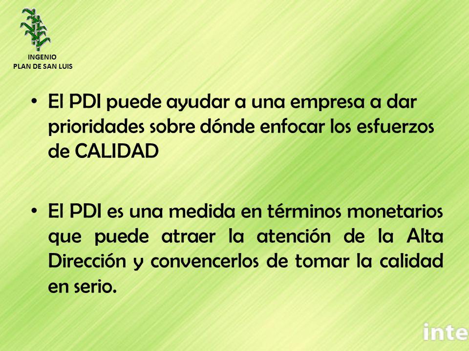 El PDI puede ayudar a una empresa a dar prioridades sobre dónde enfocar los esfuerzos de CALIDAD El PDI es una medida en términos monetarios que puede atraer la atención de la Alta Dirección y convencerlos de tomar la calidad en serio.