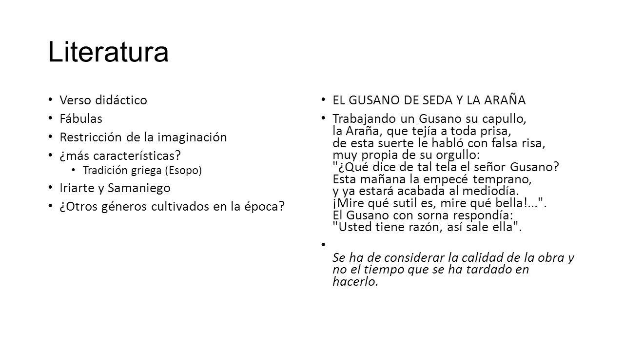 Literatura Verso didáctico Fábulas Restricción de la imaginación ¿más características.