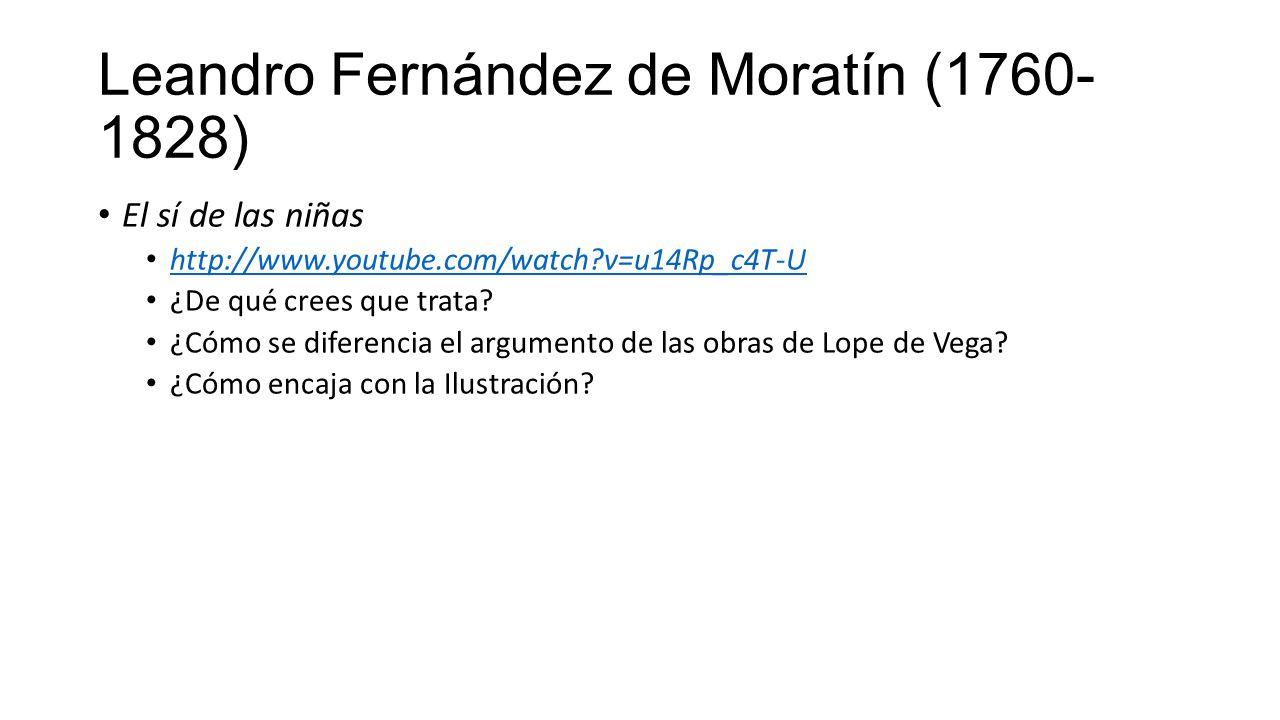 Leandro Fernández de Moratín (1760- 1828) El sí de las niñas http://www.youtube.com/watch?v=u14Rp_c4T-U ¿De qué crees que trata.