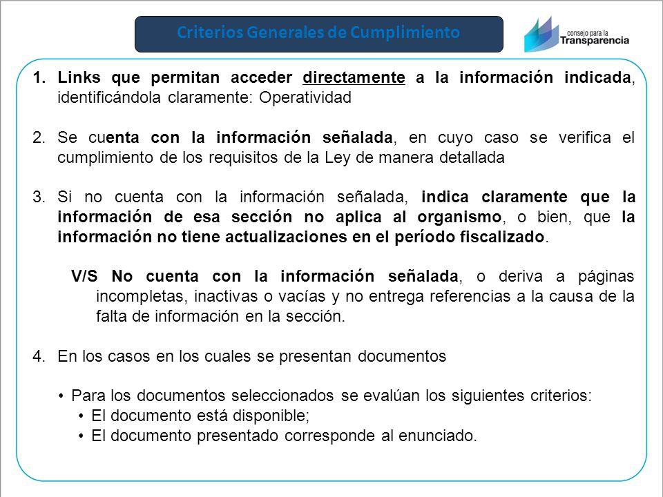 Criterios Generales de Cumplimiento 1.Links que permitan acceder directamente a la información indicada, identificándola claramente: Operatividad 2.Se cuenta con la información señalada, en cuyo caso se verifica el cumplimiento de los requisitos de la Ley de manera detallada 3.Si no cuenta con la información señalada, indica claramente que la información de esa sección no aplica al organismo, o bien, que la información no tiene actualizaciones en el período fiscalizado.