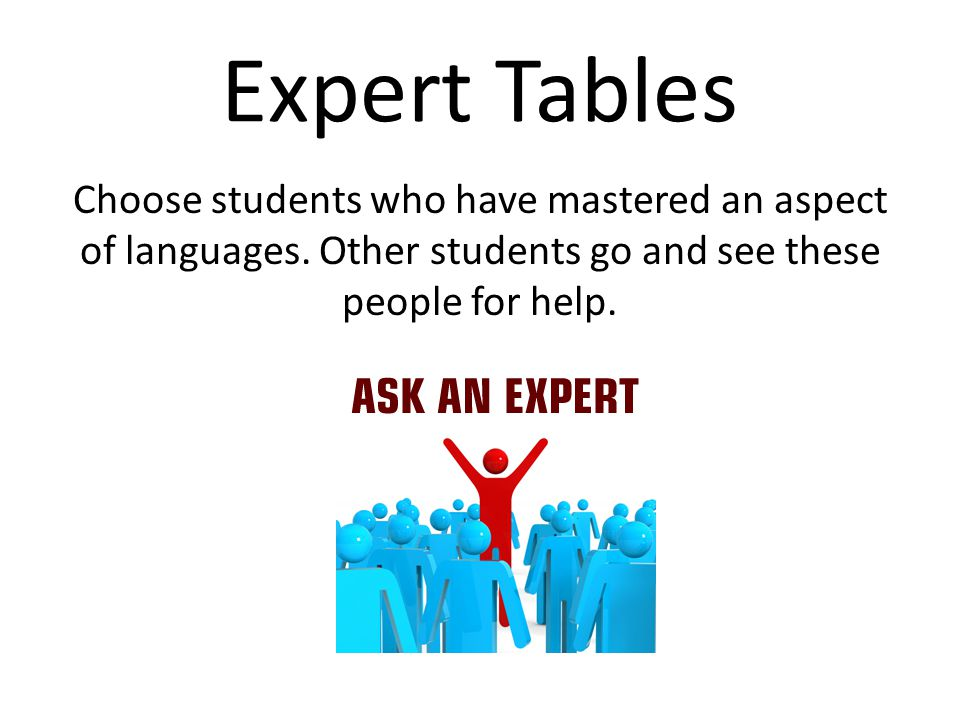 Expert Tables Choose students who have mastered an aspect of languages. Other students go and see these people for help.