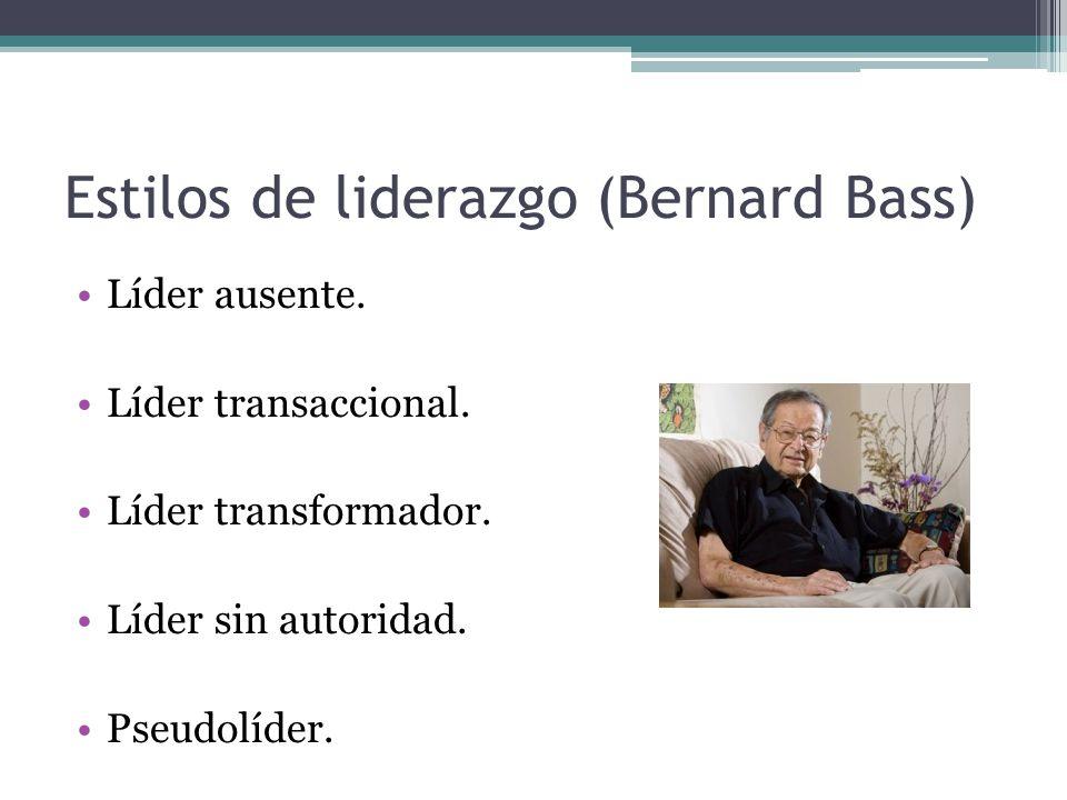 Estilos de liderazgo (Bernard Bass) Líder ausente. Líder transaccional. Líder transformador. Líder sin autoridad. Pseudolíder.