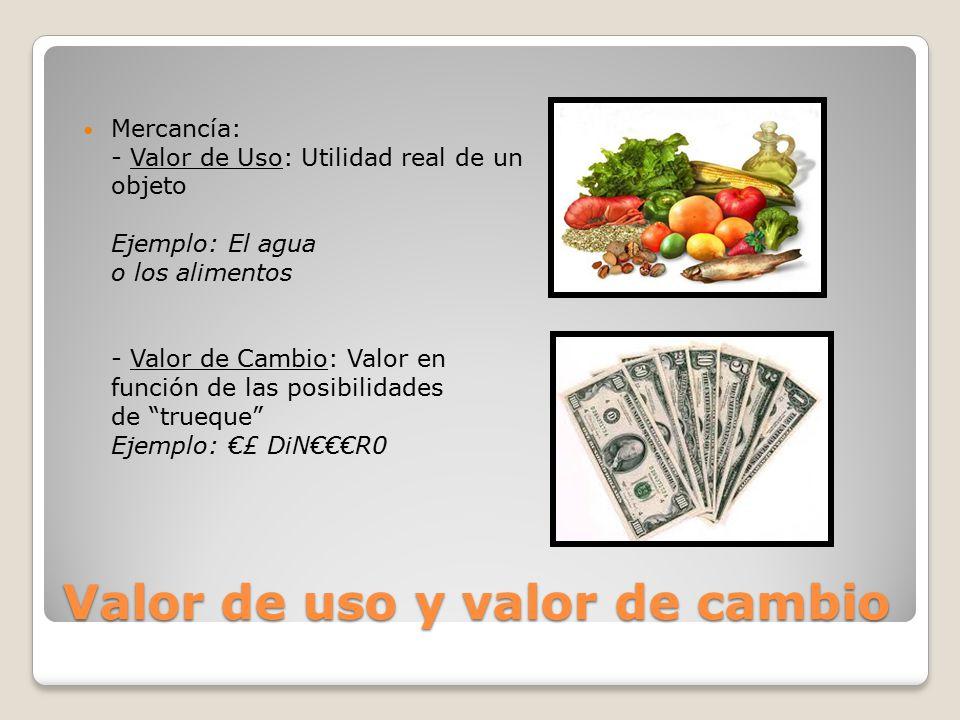 Valor de uso y valor de cambio Mercancía: - Valor de Uso: Utilidad real de un objeto Ejemplo: El agua o los alimentos - Valor de Cambio: Valor en función de las posibilidades de trueque Ejemplo: €£ DiN€€€R0