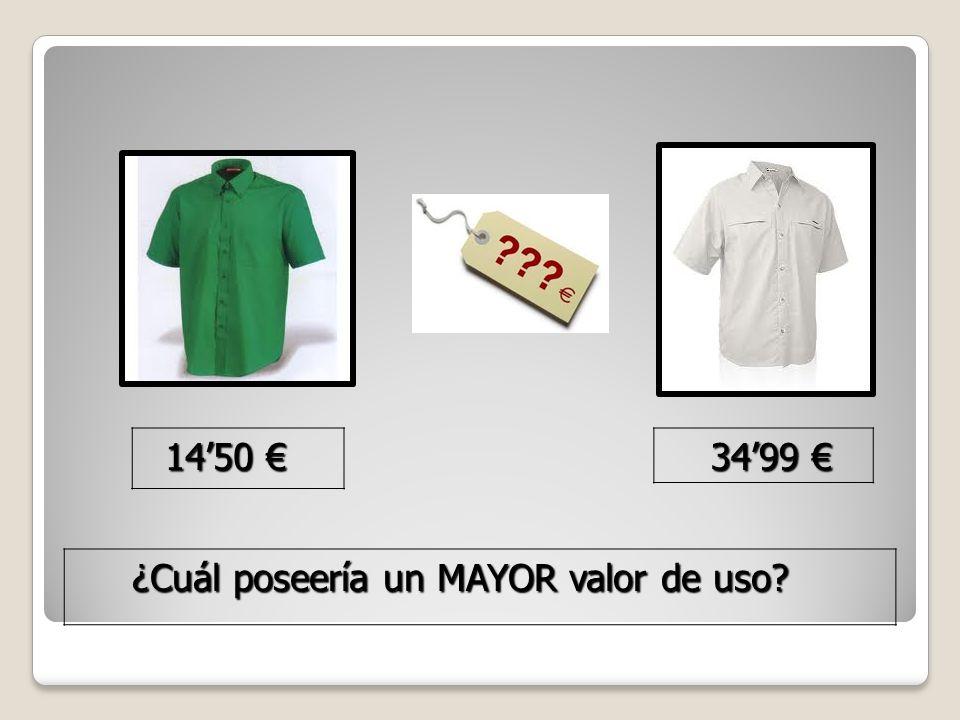 34'99 € 34'99 € 14'50 € 14'50 € ¿Cuál poseería un MAYOR valor de uso.