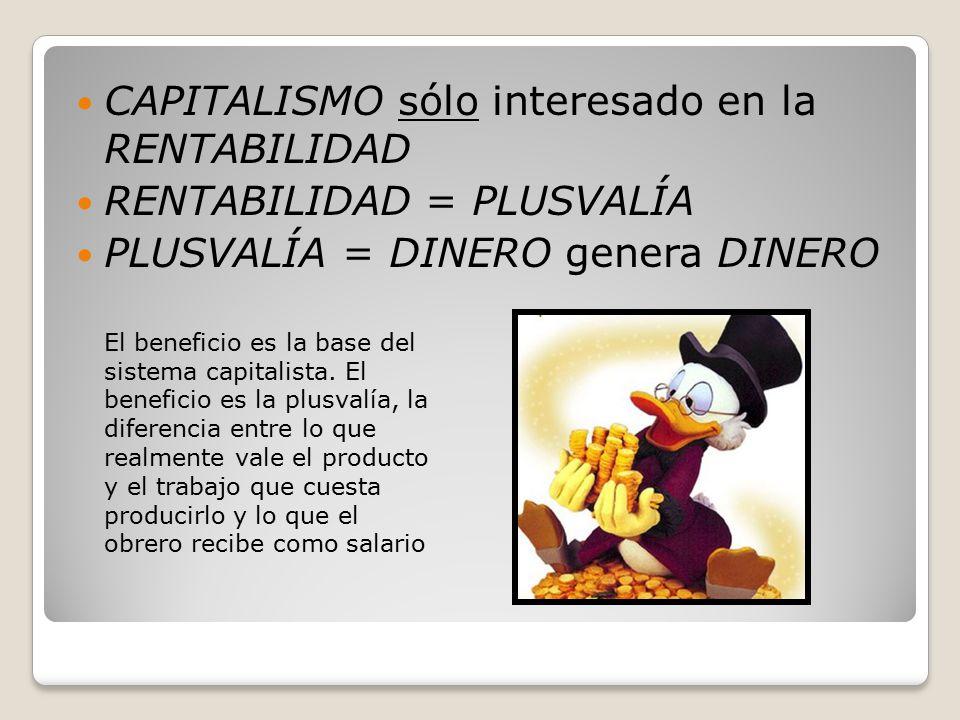 CAPITALISMO sólo interesado en la RENTABILIDAD RENTABILIDAD = PLUSVALÍA PLUSVALÍA = DINERO genera DINERO El beneficio es la base del sistema capitalista.