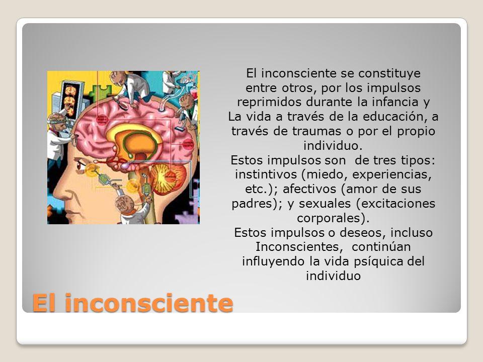 El inconsciente El inconsciente se constituye entre otros, por los impulsos reprimidos durante la infancia y La vida a través de la educación, a través de traumas o por el propio individuo.