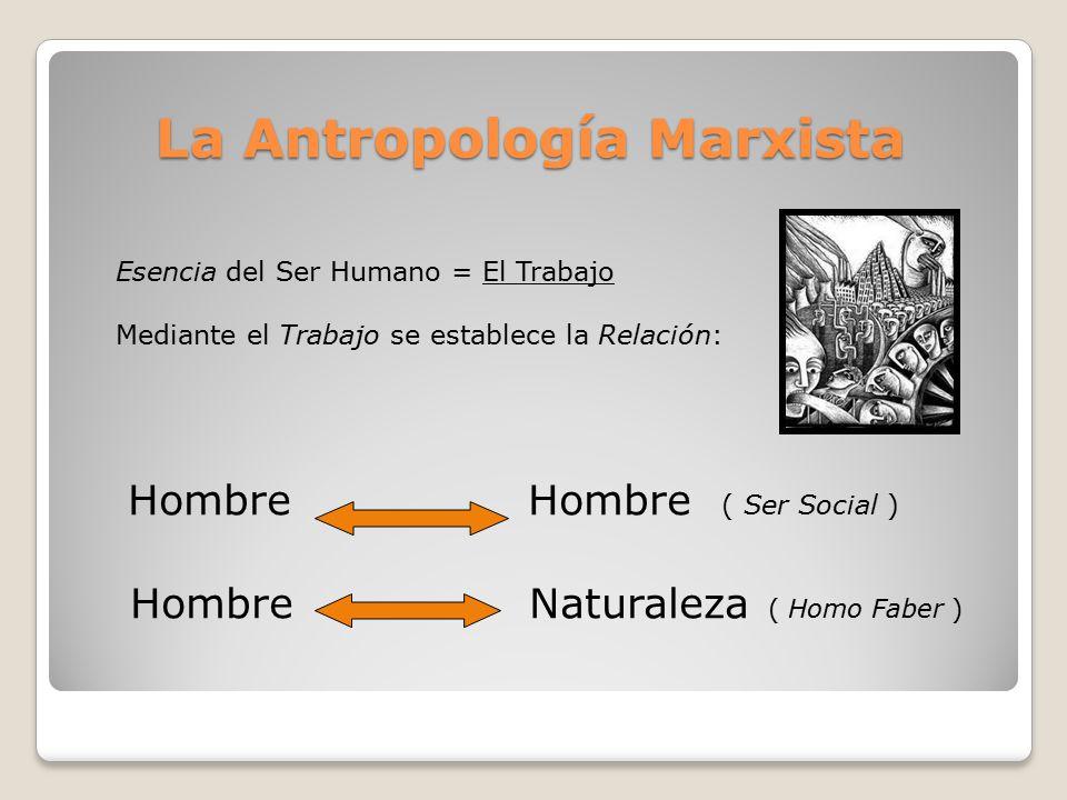 La Antropología Marxista La Antropología Marxista Hombre Hombre ( Ser Social ) Hombre Naturaleza ( Homo Faber ) Esencia del Ser Humano = El Trabajo Mediante el Trabajo se establece la Relación: