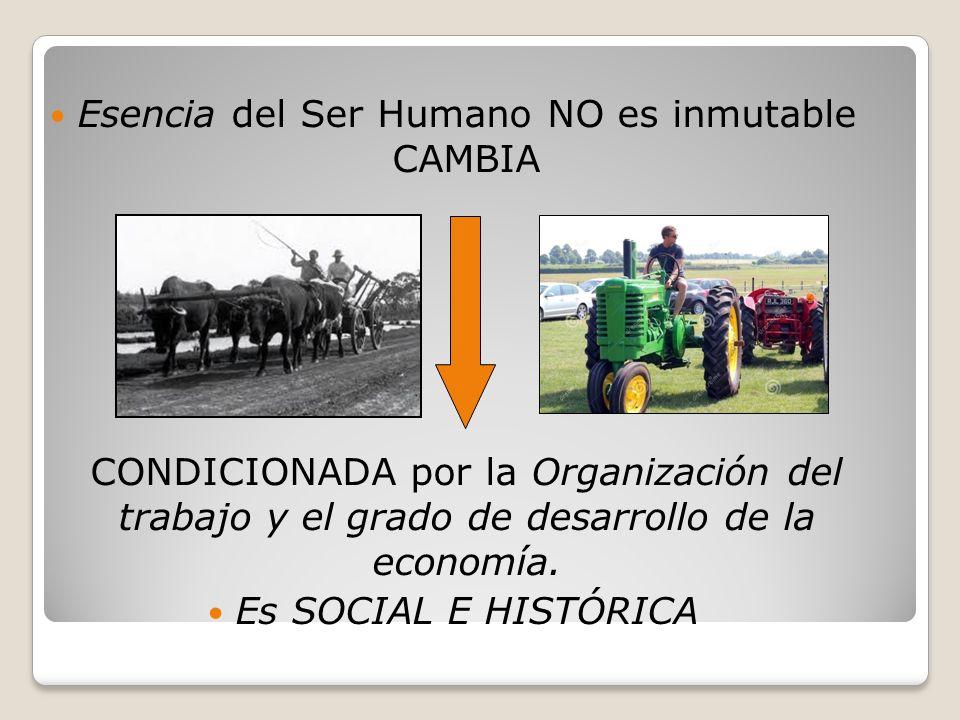 Esencia del Ser Humano NO es inmutable CAMBIA CONDICIONADA por la Organización del trabajo y el grado de desarrollo de la economía.