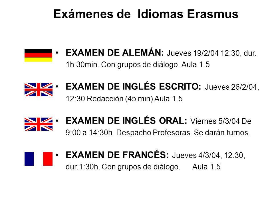 Exámenes de Idiomas Erasmus EXAMEN DE ALEMÁN: Jueves 19/2/04 12:30, dur. 1h 30min. Con grupos de diálogo. Aula 1.5 EXAMEN DE INGLÉS ESCRITO: Jueves 26