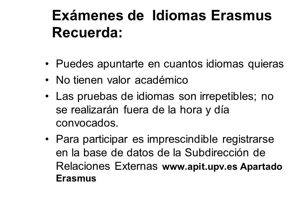 Exámenes de Idiomas Erasmus Recuerda: Puedes apuntarte en cuantos idiomas quieras No tienen valor académico Las pruebas de idiomas son irrepetibles; n